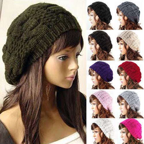 Wholesale Women's Knitted Crochet Slouch Baggy Beret Beanie Hat Cap DIY PomPom