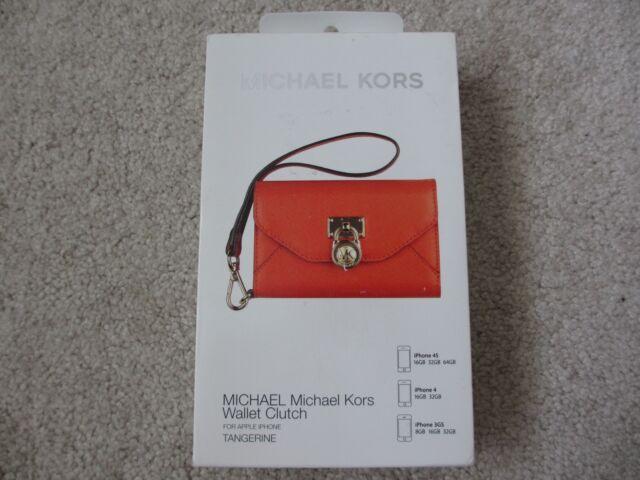 $80 NEW MICHAEL KORS MK Tangerine Wallet Clutch Wristlet for iPhone 3GS 4 4S