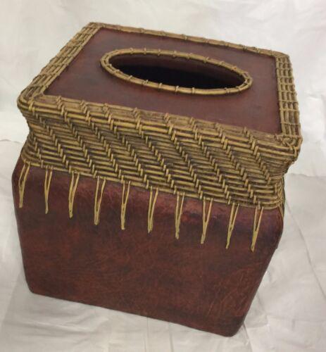 Brand New Resin ceramic square tissue cover Tissue Holder Brown