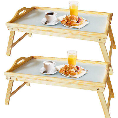 2 In 1 Folding Bed Tray Table Lap Wooden Light Weight Pine Handles Easy Wipe Top