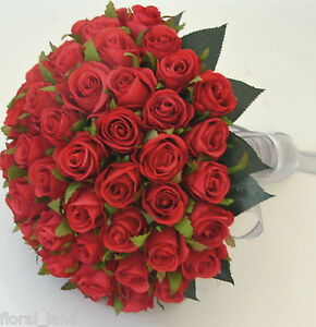 Image Is Loading Silk Wedding Bouquet Bouquets Red Rose Posy Silver