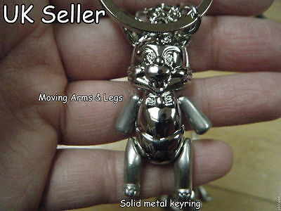SOLID METAL MOVING ARMS /& LEGS CUTE BUNNY RABBIT KEYRING IN GIFT BOX 4.5cm LONG