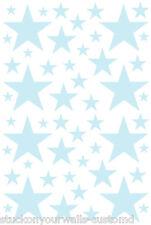 52 POWDER BLUE STARS VINYL BEDROOM WALL DECALS STICKERS Teen Girl Baby Nursery