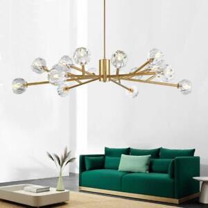 Details About Vintage Gold Bronze Chandeliers Sputnik Crystal Ceiling Lights Pendant Lighting