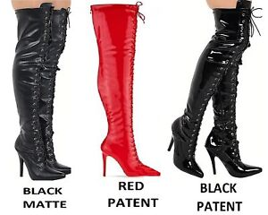 Ladies-Thigh-High-Over-The-Knee-Fetish-Boots-Front-Lace-Stiletto-Heel-Sizes-3-12