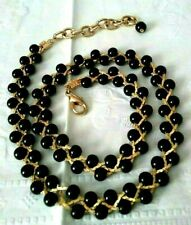 """Buckle Design Choker Necklace In Black Fabric with Gold Tone  Buckle 14-16/"""""""