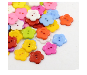 100-Acrylic-Flower-Sewing-Buttons-Plastic-Buttons-Craft-Scrapbooking-Sewing