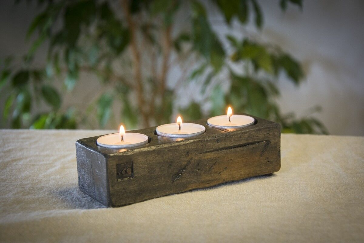 Handcrafted Tilia Wooden Three Candle Holder Tea Light Candlelight Linden Wood