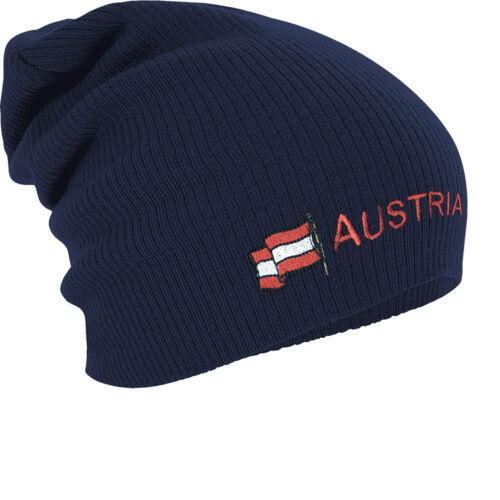 Long Beanie Winterbeanie Muetze Stickmotiv Flagge Oesterreich Austria 54580 navy