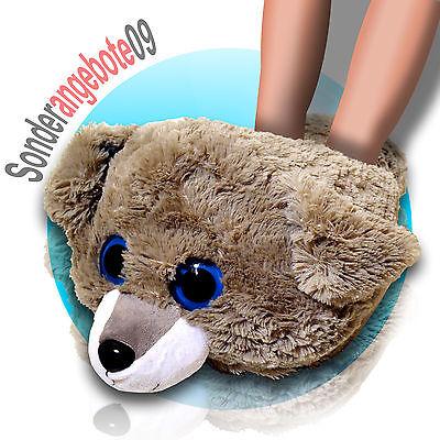 XXL Fußwärmer Bär Pantoffeln Hausschuhe Puschen Plüsch Plüschtier Wärmepuschen