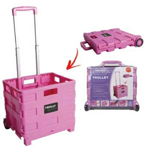 Boîte pliante Shopping Trolley Coffre Voiture Roues Stockage Caisse Repliable Rolling