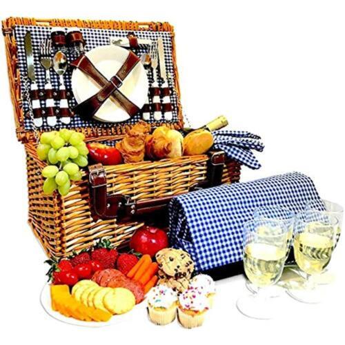 Picnic Basket Baskets Set For 4 Person Hamper Folding Blanket Table Plates Kit
