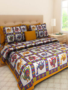 Indian Rajasthani Handmade King Size 100/% Cotton Bed Sheet And 2 Pillow Covers