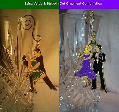 "Unique Ballroom Dance Ornament Combo: ""Salsa Verde "" & ""Steppin' Out"""