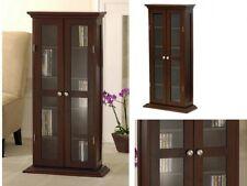 Wood Glass Storage Cabinet Small Utility Home Media Curio Organizer Armoire New