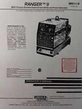 Lincoln Ranger 9 Welder Generator Amp Onan Performer Gas Engine Owner 2 Manual S