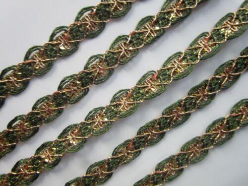 2 Meter Spitze Nichtelastisch Breit Borte Olivgrün Gold 1,3cm Elegante N