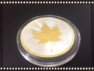 RARE NEW 2016 Canada Maple Leaf 9999 1 oz Silver and 24K Gold Gilded BU LIMITED!