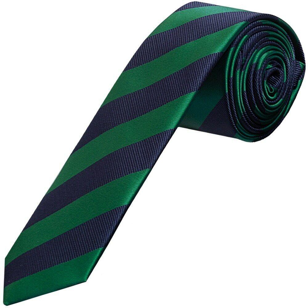 TIES R US Navy and Green Striped Skinny Men's Tie Slim Tie Thin Tie Wedding Tie