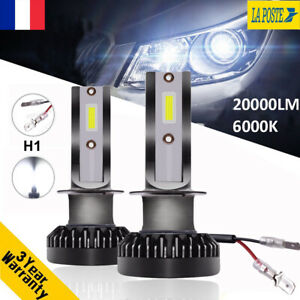 2X 55W 20000LM H1 Beam COB LED Ampoule Voiture Feux Lampe Kit Phare Blanc 6000K