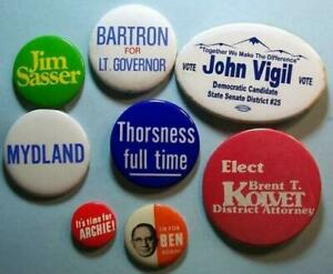 8 South Dakota & Area Political Pin back Buttons 60's-90's (incl.-22nd Governor)