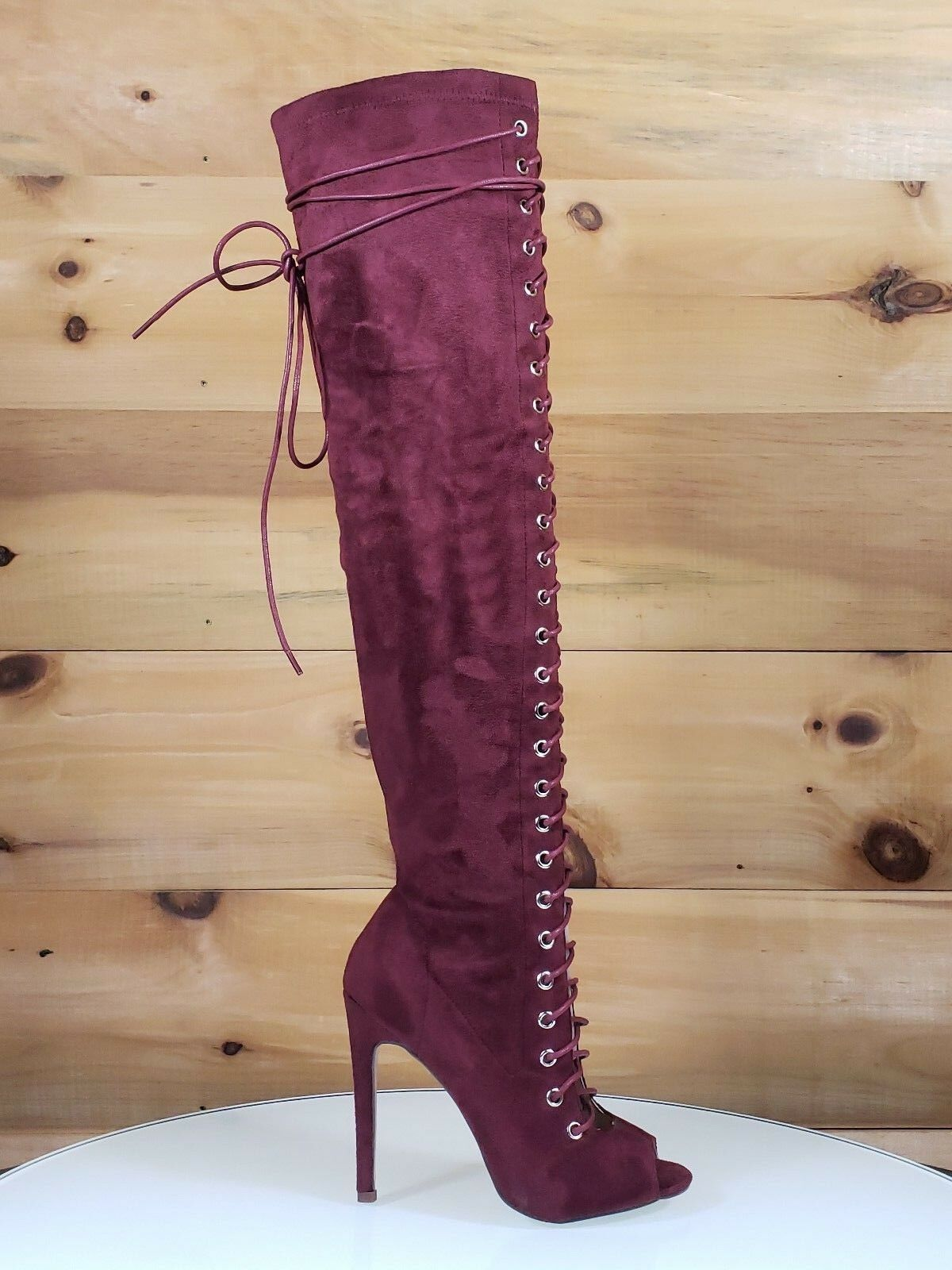 C&C Red Wine Vegan Suede Open Toe Lace Up Above Knee High Heel Boot