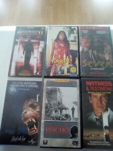 VHS N° 6 VIDEOCASSETTE ORIGINALI FILM HORROR E THRILLER, LOTTO UNICO.
