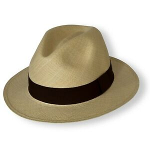 9f2cb897eca3d7 Image is loading Traditional-Panama-hat-with-brown-band-Natural-Colour-