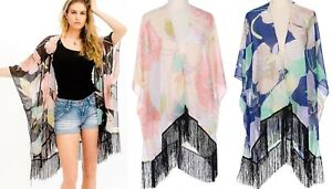 Floral-Kimono-Cardigan-Open-Front-Flowy-Fringe-Long-Loose-Sheer-Boho-Beach-Top