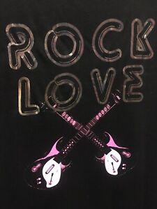 Rock-and-Roll-Love-T-shirt-chitarre-musica-Top-Donna-Taglia-10-Nuovo-con-etichette