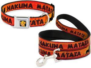 Buckle-Down-Seatbelt-Dog-Collar-or-Leash-Disney-Lion-King-Hakuna-Matata-USA