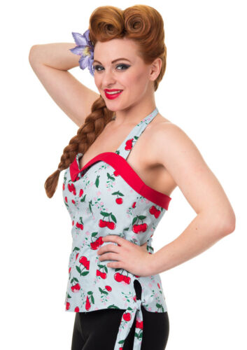 Look Pin Uk10 Top Cerise 10 Rockabilly Pinup Stile Rᄄᆭtro Anni Up Uk12 '50 Fille 12 8n0OPyvNwm