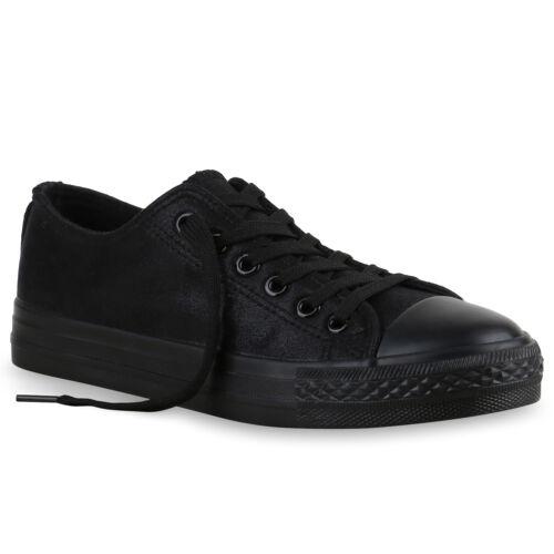 Damen Glitzer Sneakers Low Freizeit Canvas Schuhe Schnürer 811064 Trendy