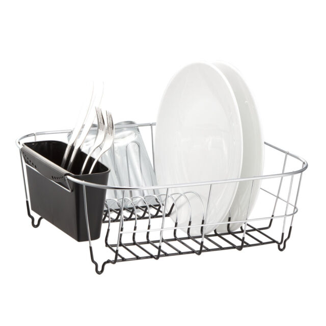 Metal Dish Drying Rack.Chrome Plated Dish Drying Rack Kitchen Holder Stainless Steel Small Black