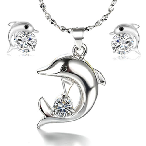 925 Sterling Silver Crystal Dolphin Pendant Stud Earrings And Offer Set