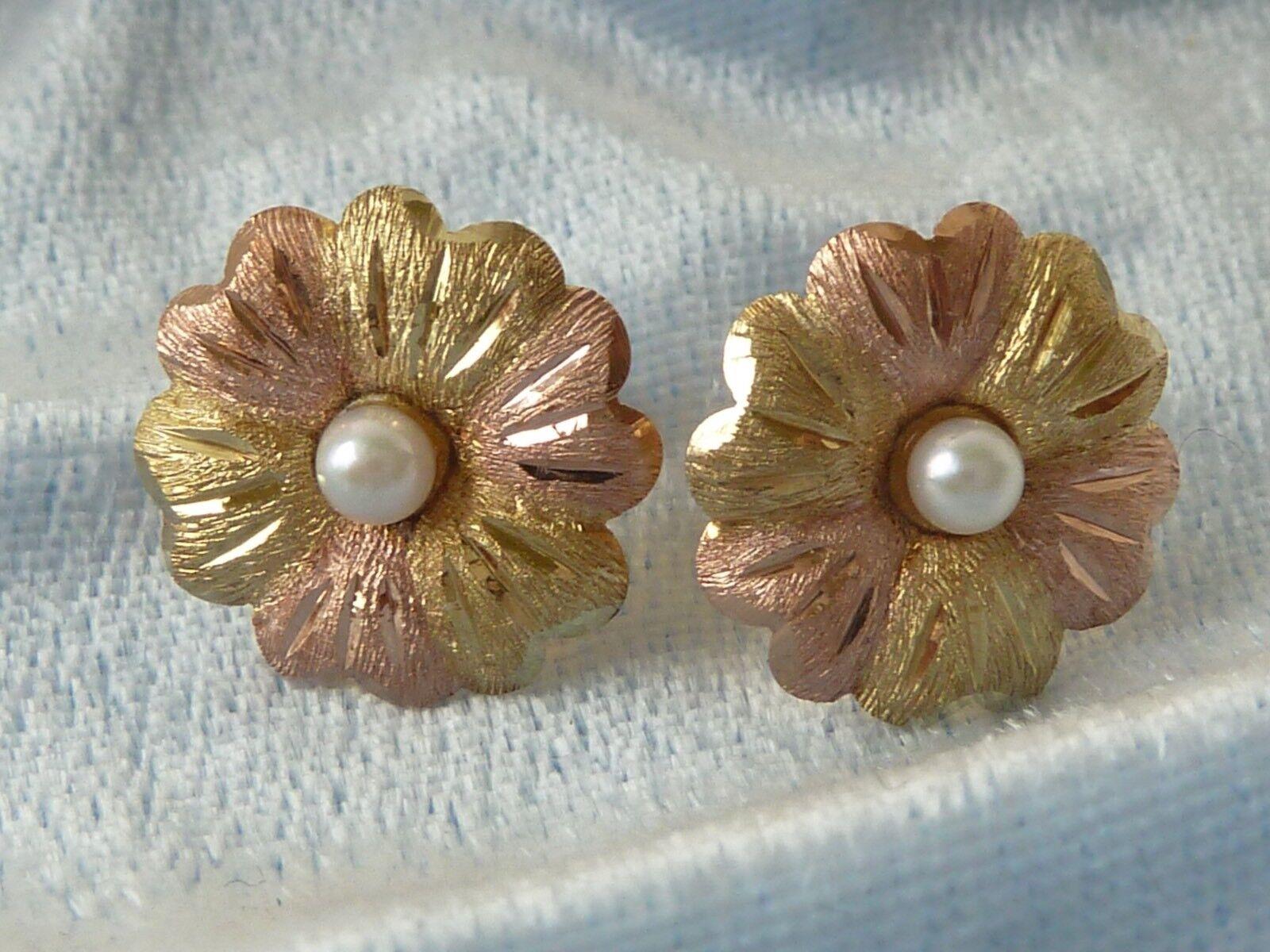 10K Multi-tone gold Post Earrings, 3mm Natural Pearl, 13mm Diameter