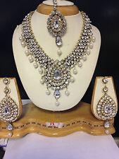 Neu Bollywood Indisch Kostüm Schmuck Set Goldfarben weiß Stein Abend Wear-Y2