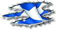 Vinyl sticker/decal  120mm Scotland ripped torn metal WAVING Flag Facing Right