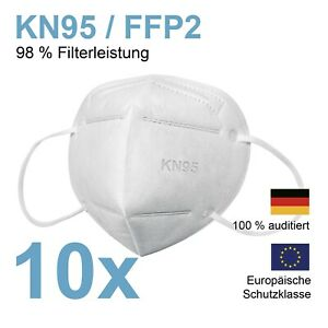 FFP2 Atemschutz Maske Mundschutz Schutzmaske KN95 - 98% Filterleistung 10er-Set