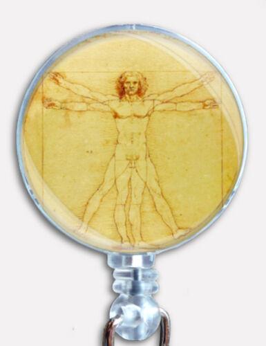 Leonardo Da Vinci The Vitruvian Man Retractable Badge Reel ID Name Card Holder