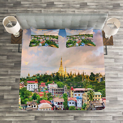 Colorful Buildings Boats Print Details about  /Venice Quilted Bedspread /& Pillow Shams Set