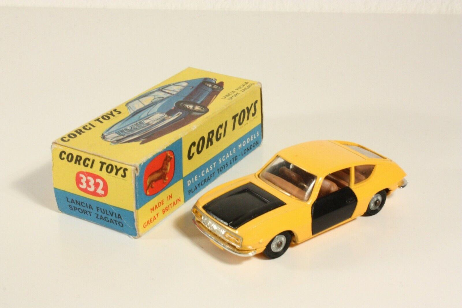 Corgi Juguetes 332, Lancia Fulvia Sport Zagato, rare amarillo, Mint en Box  ab2292
