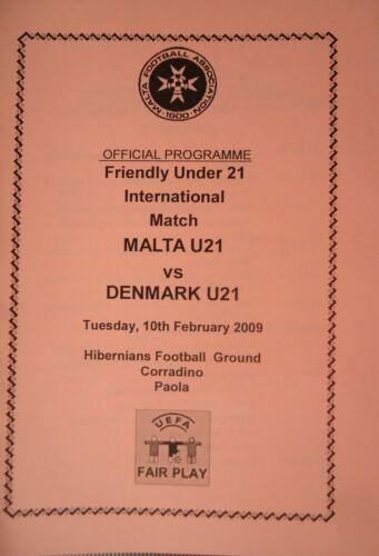 Programm 10.2.2009 U21 Malta Denmark Dänemark