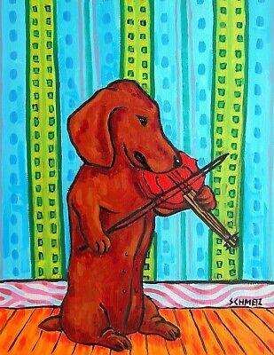 DACHSHUND dog violin 8x10  artist art print impressionism animals