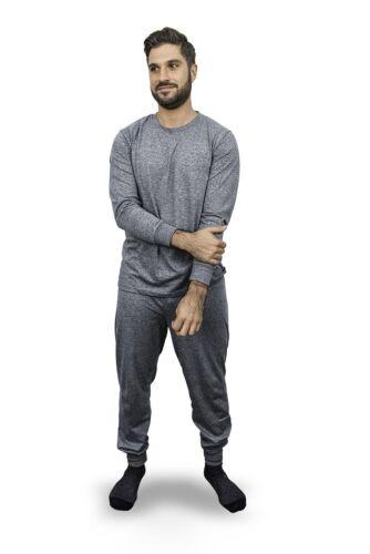 Men/'s Pajama Set Loungewear Marled Grey Men/'s Long John PJ Set soft high quality