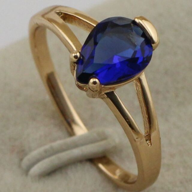 Size 6~10 Beautiful Vogue Jewelry Blue CZ Gold Filled Cocktail Ring Gift rj1451