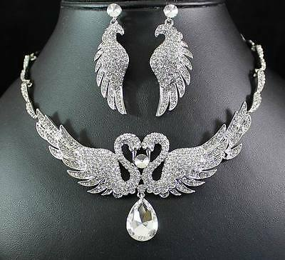 SWAN CLEAR AUSTRIAN RHINESTONE CRYSTAL NECKLACE EARRINGS SET BRIDAL WEDDIN N1416