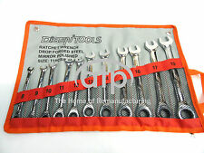 Metric 11 Piece Gear Ratchet Combination Spanners Wrench Set 8 - 19mm Chrome