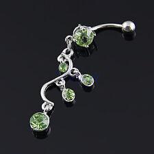 14G Elegant Green Vine Belly Dangle Bar Ring Body Piercing Jewelery Navel HW