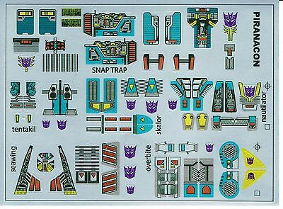 Transformers GENERACIÓN 1 G1 Decepticon Seacons REPRO Etiquetas//Pegatinas
